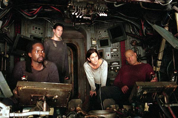 Matrix Reloaded : Photo Carrie-Anne Moss, Harold Perrineau, Keanu Reeves, Laurence Fishburne