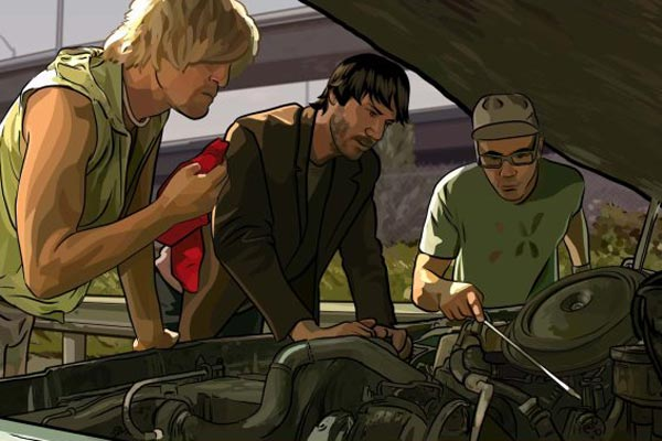 A Scanner Darkly : Photo Keanu Reeves, Robert Downey Jr., Woody Harrelson
