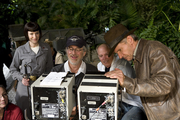 Indiana Jones et le Royaume du Crâne de Cristal : Photo Cate Blanchett, Frank Marshall, Harrison Ford, Steven Spielberg