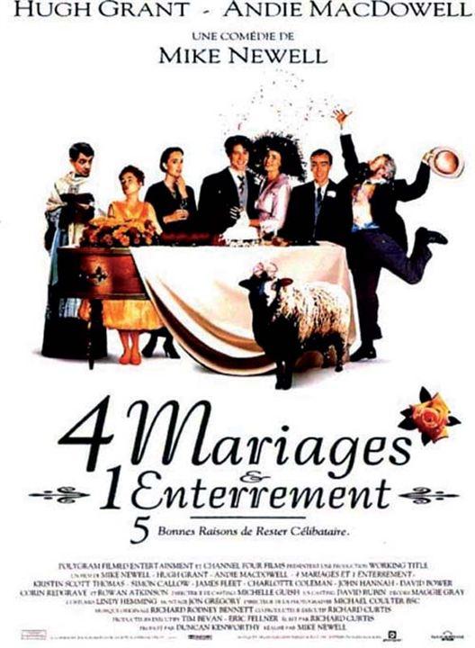 Quatre mariages et un enterrement : Affiche Hugh Grant, John Hannah, Kristin Scott Thomas, Rowan Atkinson, Simon Callow