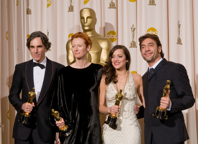Cérémonie des Oscars 2008 : Photo Daniel Day-Lewis, Javier Bardem, Marion Cotillard, Tilda Swinton