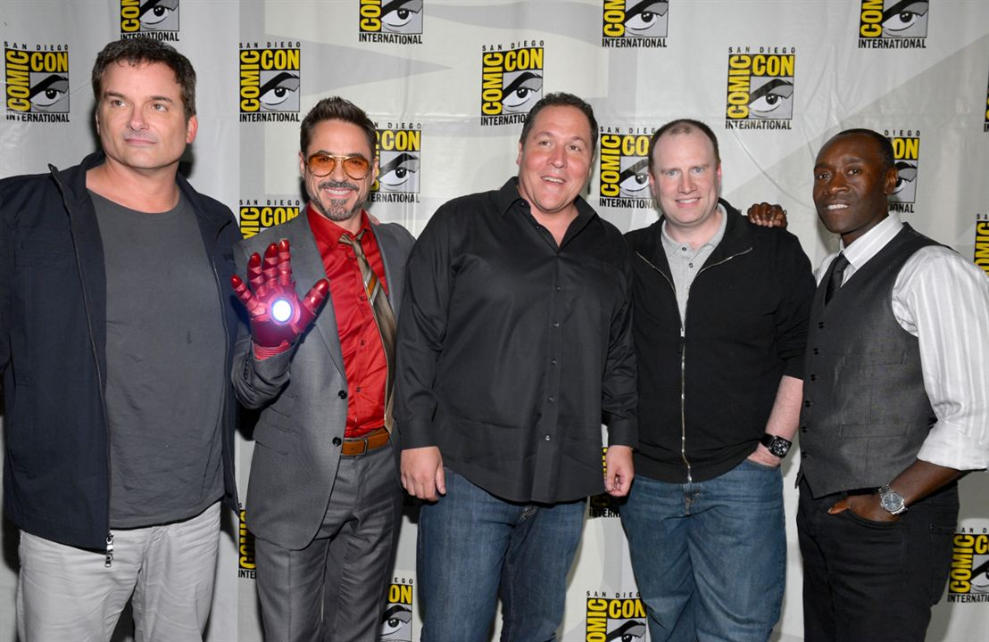 Iron Man 3 : Photo promotionnelle Don Cheadle, Jon Favreau, Kevin Feige, Robert Downey Jr., Shane Black