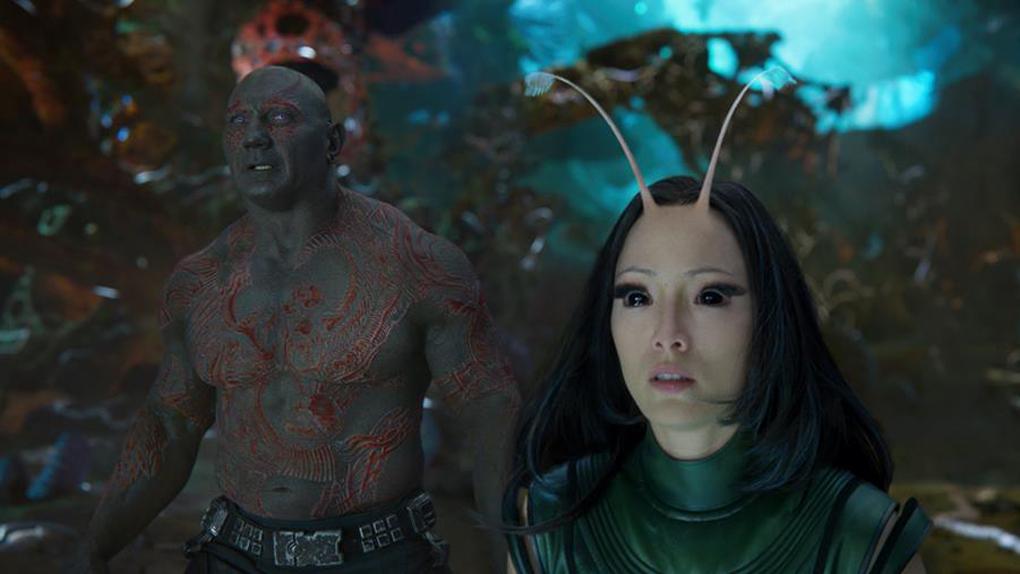 Drax (Dave Bautista) et Mantis (Pom Klementieff)