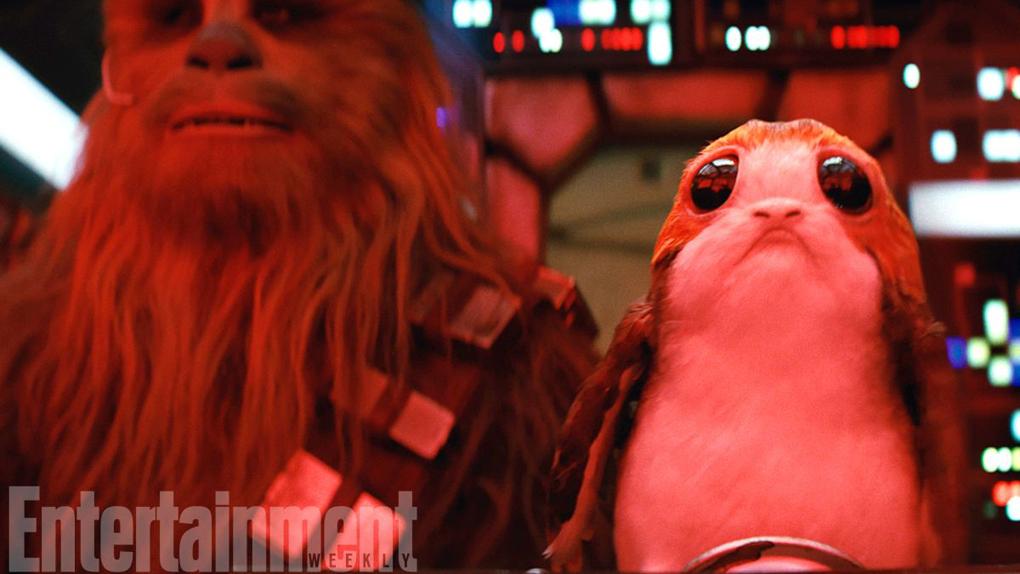 Un Porg en virée intergalactique avec Chewbacca