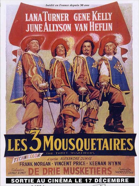 Les Trois mousquetaires : Affiche Gene Kelly, George Sidney, Gig Young, Robert Coote, Van Heflin