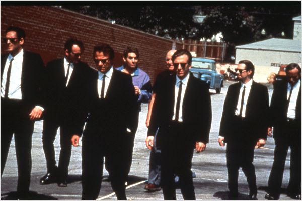 Reservoir Dogs : photo Chris Penn, Edward Bunker, Harvey Keitel, Michael Madsen, Quentin Tarantino