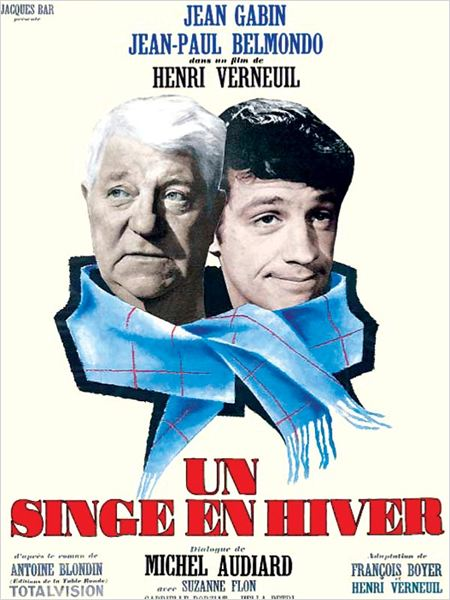 Un singe en hiver : affiche Henri Verneuil, Jean Gabin, Jean-Paul Belmondo