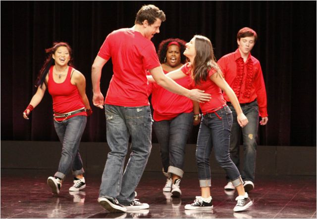 Glee : Photo Amber Riley, Chris Colfer, Cory Monteith, Jenna Ushkowitz, Lea Michele