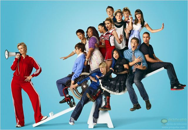 Glee : Photo Amber Riley, Chord Overstreet, Chris Colfer, Cory Monteith, Harry Shum Jr.