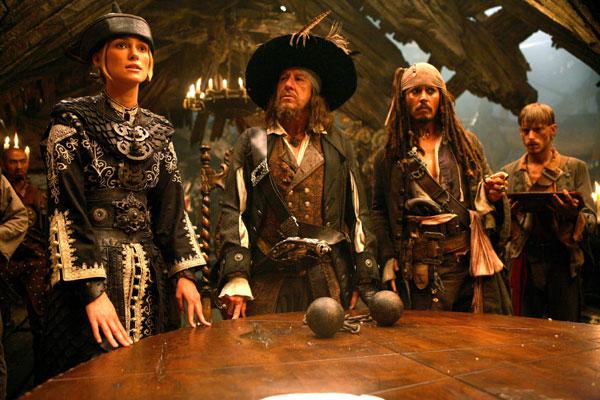 Pirates des Caraïbes : Jusqu'au Bout du Monde : Photo Geoffrey Rush, Johnny Depp, Keira Knightley