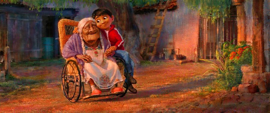 Coco : le héros pose avec sa grand-mère