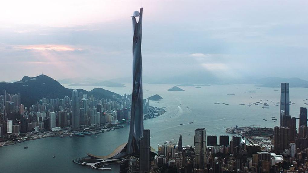 """The Pearl"", le gratte-ciel fictif chinois du film ""Skyscraper"" (2018)"
