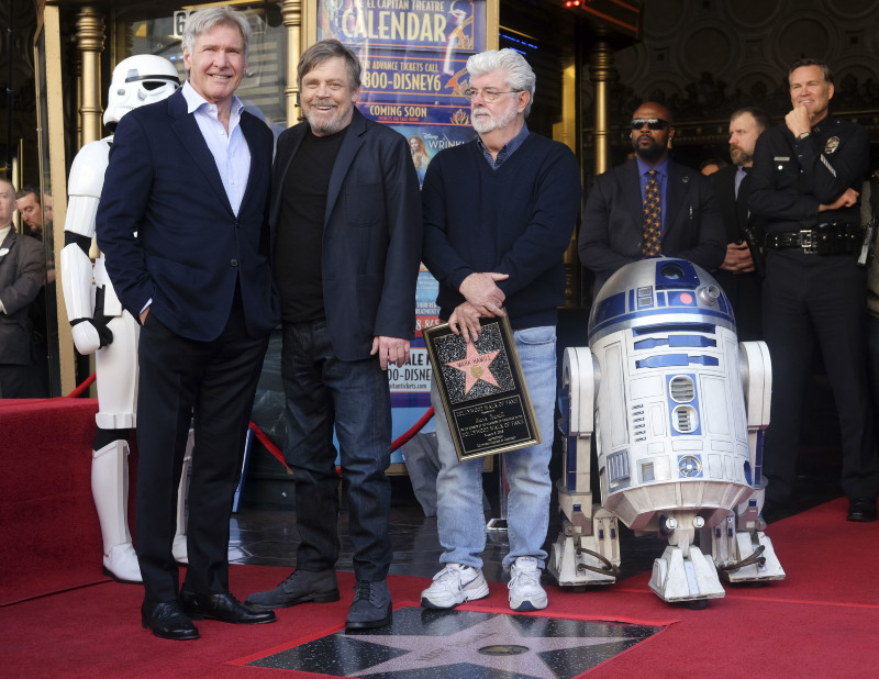 Photo promotionnelle George Lucas, Harrison Ford, Mark Hamill