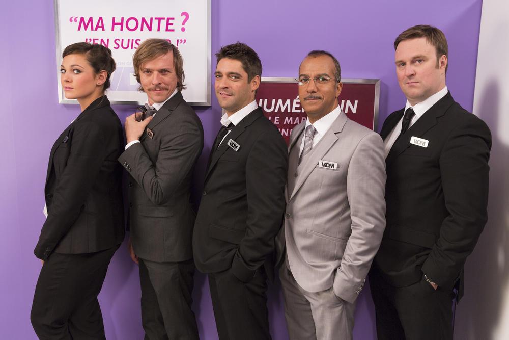 VDM, la série : Photo Guillaume Carcaud, Lucile Marquis, Pascal Demolon, Pascal Légitimus, Pierre Bénézit